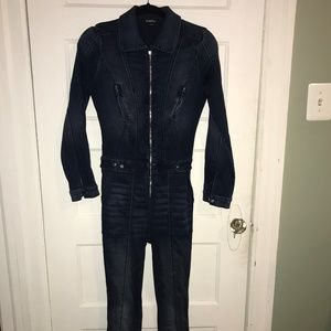 Bebe Long Sleeve Denim Zip Up Jumpsuit - Size 27